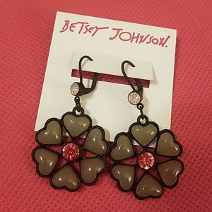 Betsey Johnson pink gem heart flower NWT